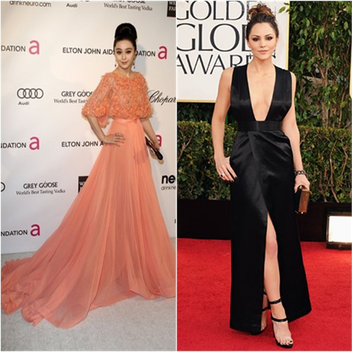 Fan's gown by Elie Saab, purse by Roger Vivier; Katharine's gown by Theyskens' Theory, purse by Oroton