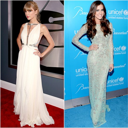Taylor's gown by J. Mendel; Allison's gown by Naeem Khan