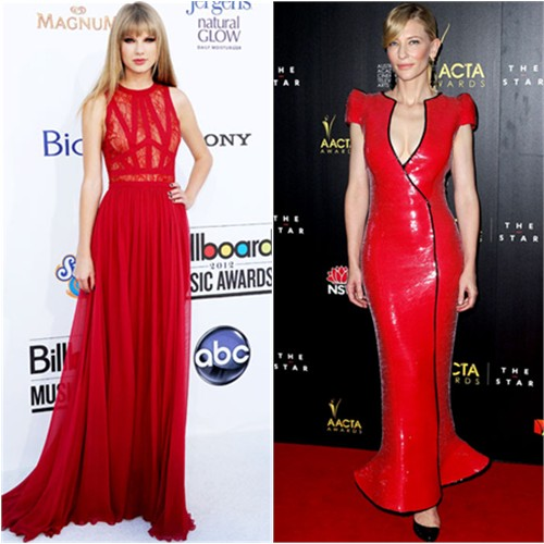 Taylor's gown by Elie Saab; Cate's gown Armani Priv