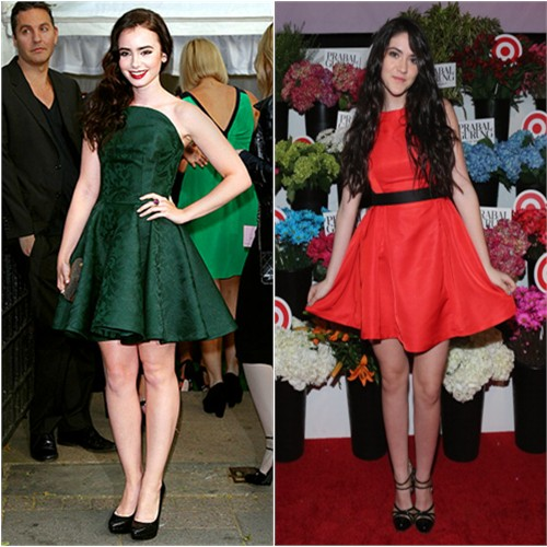 Lily's dress and shoes by Alexander McQueen; Isabelle's dress by Prabal Gurung for Target, shoes by Versus