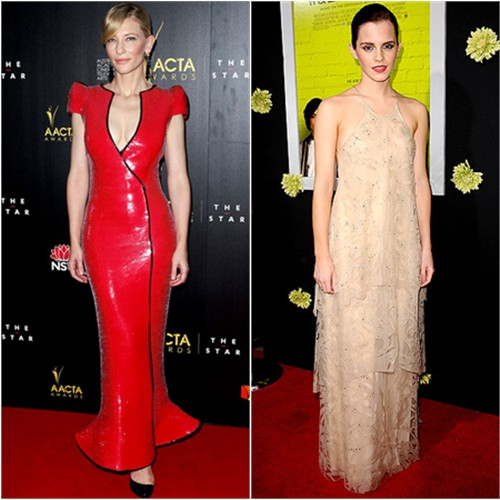Cate's gown by Armani Priv; Emma's gown by Giorgio Armani