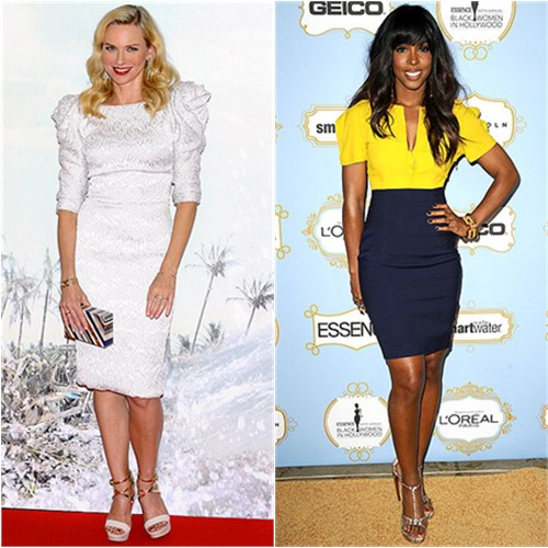 Naomi's dress by Marchesa, purse by Louis Vuitton, shoes by Christian Louboutin; Kelly's dress by Fendi