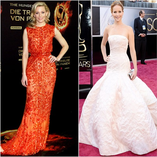 Elizabeth's gown by Elie Saab; Jennifer's gown by Christian Dior, purse by Roger Vivier