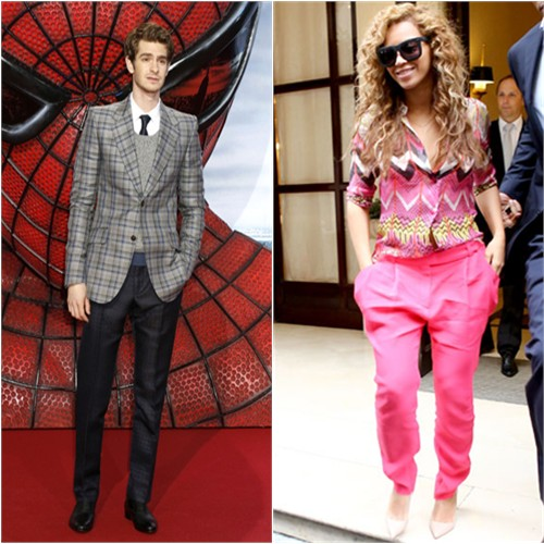 Andrew's jacket, sweater, and pants by Gucci; Beyonce's top by Carven, pants by Vionnet, shoes by Christian Louboutin