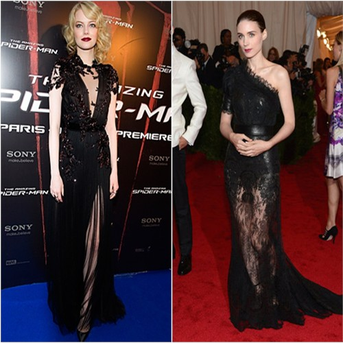 Emma's gown by Gucci, shoes by Christian Louboutin; Rooney's gown by Givenchy