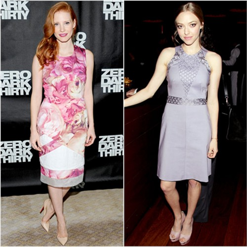 Jessica's dress by Preen, shoes by Christian Louboutin; Amanda's dress by Marios Schwab, shoes by Rupert Sanderson