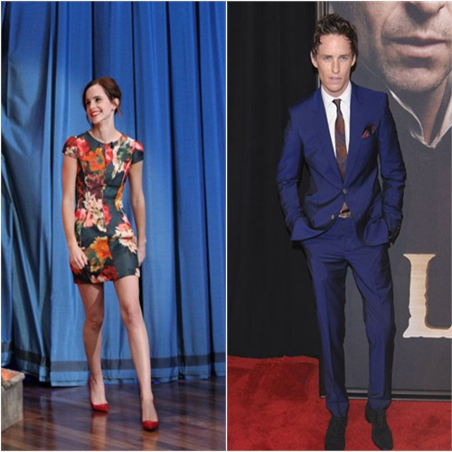 Emma's dress by J. Mendel; Eddie's suit by Alexander McQueen
