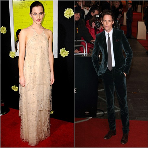 Emma's gown by Giorgio Armani; Eddie's suit by Burberry Prorsum
