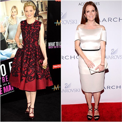 Elizabeth's dress, purse, and shoes by Alexander McQueen; Julianne's dress by Calvin Klein