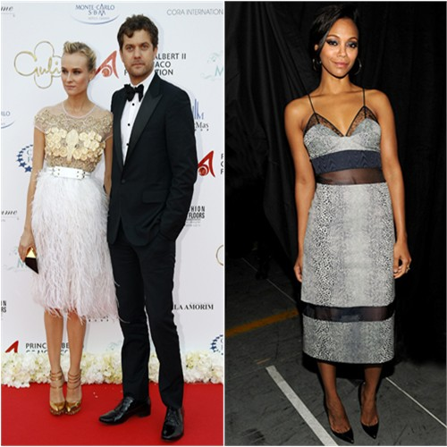 Diane's dress by Prabal Gurung, purse by Roger Vivier, shoes by Nicholas Kirkwood for Prabal Gurung; Zoe's dress by Preen