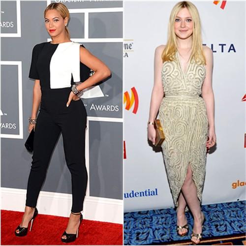 Beyonce's jumpsuit by Osman, purse by Swarovski, shoes by Jimmy Choo; Dakota's dress by Halston, purse by Salvatore Ferragamo, shoes by Manolo Blahnik