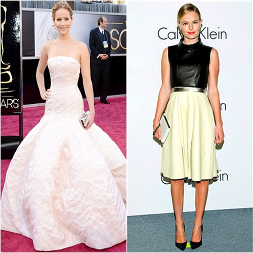 Jennifer's gown by Christian Dior, purse by Roger Vivier; Kate's dress and purse by Calvin Klein