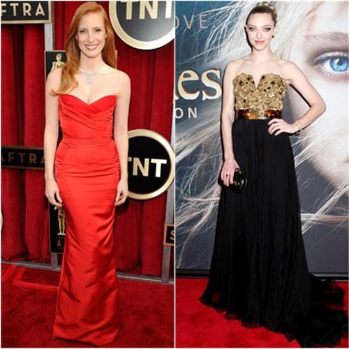 Jessica's gown by Alexander McQueen; Amanda's gown and purse by Alexander McQueen
