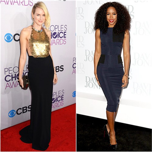 Naomi's gown by Alexander McQueen, purse by Jimmy Choo; Kelly's dress by Victoria Beckham, shoes by Christian Louboutin