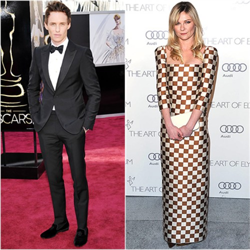 Eddie's tuxedo by Alexander McQueen; Kirsten's gown and purse by Louis Vuitton