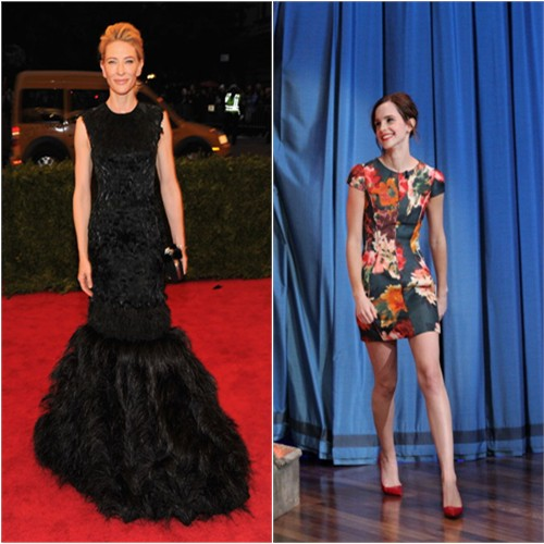 Cate's gown by Alexander McQueen; Emma's dress by J. Mendel