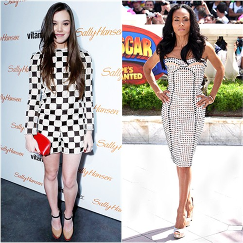 Hailee's romper and purse by Louis Vuitton; Jada's dress by Versace, shoes by Salvatore Ferragamo