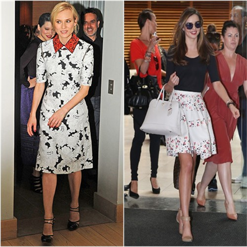 Diane's dress by Derek Lam, shoes by Versus; Miranda's skirt by Christian Dior, sunglasses by Miu Miu, purse by Prada, shoes by Alexander Wang