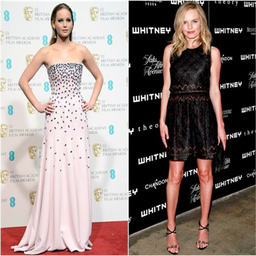 Jennifer's gown by Christian Dior, purse by Judith Leiber, shoes by Jimmy Choo; Kate's dress by Theory, shoes by Giuseppe Zanotti