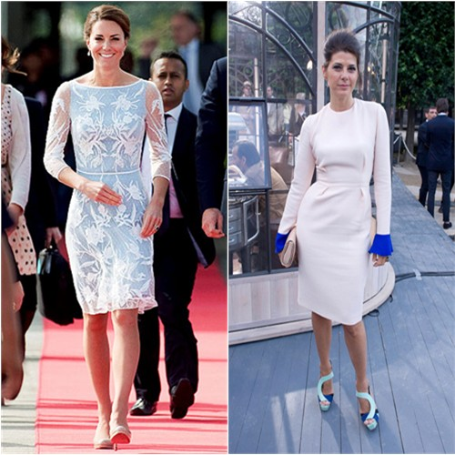 Duchess Kate's dress by Temperley London, shoes by L.K. Bennett; Marisa's dress by Roksanda Ilincic, shoes by Aperlai