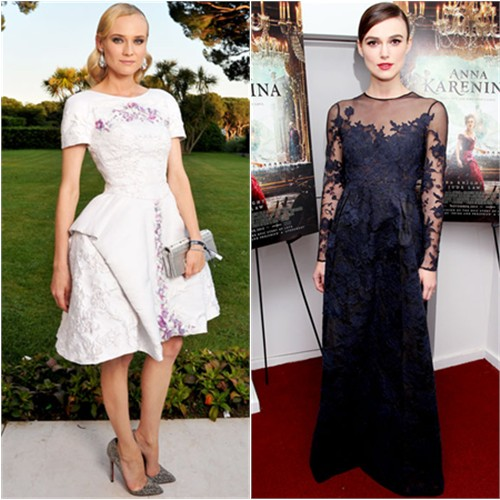 Diane's dress by Chanel, shoes by Christian Louboutin; Keira's gown by Valentino