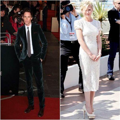 Eddie's suit by Burberry Prorsum; Kirsten's dress by Dolce & Gabbana, shoes by Charlotte Olympia