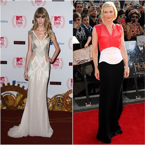 Taylor's gown by J. Mendel; Cate's gown by Antonio Berardi