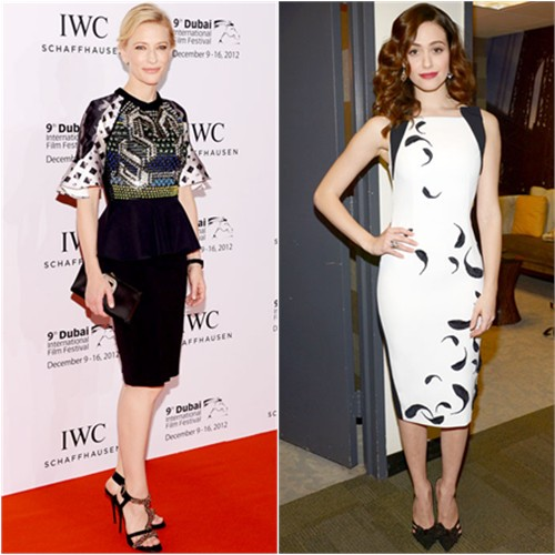 Cate's dress by Peter Pilotto, purse and shoes by Roger Vivier; Emmy's dress by Andrew Gn, shoes by Jimmy Choo