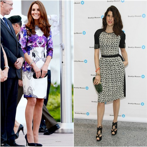 Duchess Kate's dress by Prabal Gurung, shoes by Prada; Marisa's dress by Preen, purse by Edie Parker, shoes by Nicholas Kirkwood