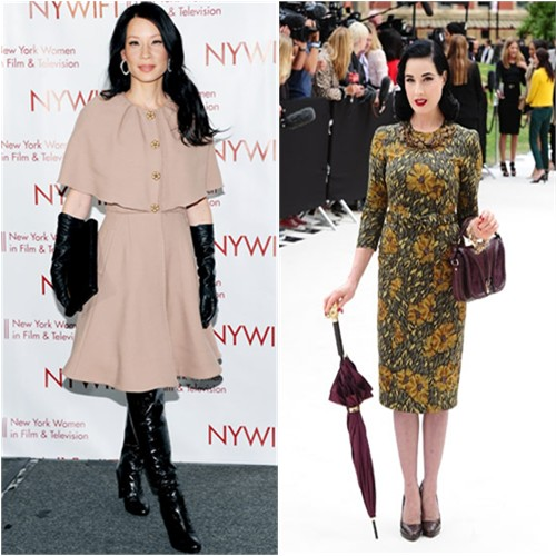 Lucy's coat by Dolce & Gabbana, boots by Stuart Weitzman; Dita's dress by Burberry