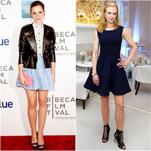 Emma's jacket, dress, purse, and shoes by Miu Miu; Nicole's dress by Azzedine Alaia, shoes by Manolo Blahnik