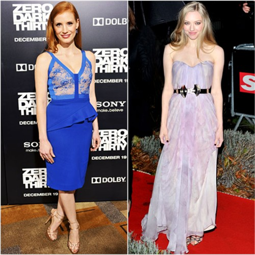 Jessica's dress by Elie Saab, shoes by Charlotte Olympia; Amanda's gown by Alexander McQueen, shoes by Rupert Sanderson