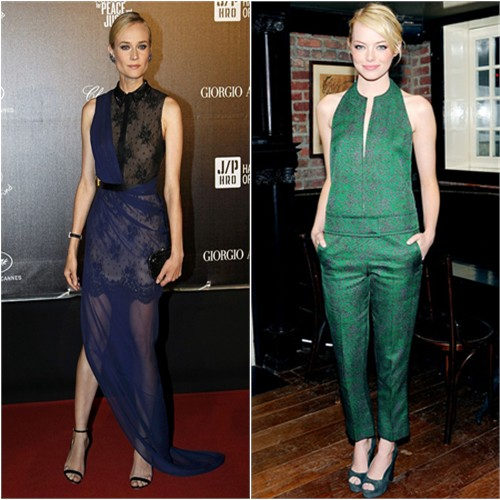 Diane's gown by Jason Wu; Emma's top and pants by Calvin Klein
