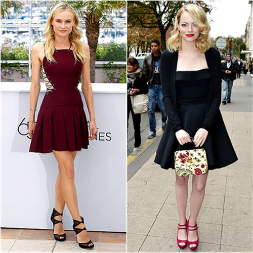 Diane's dress by Versus, shoes by Jimmy Choo; Emma's dress and purse by Miu Miu