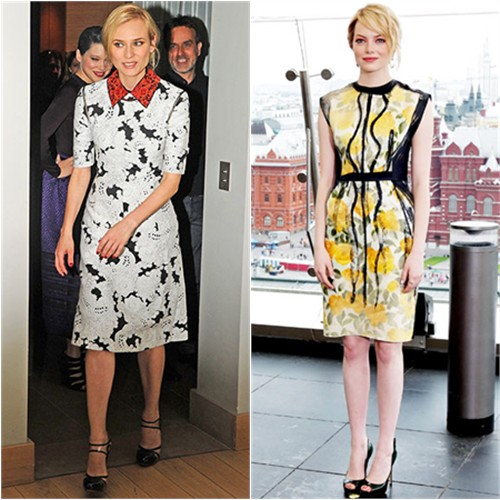 Diane's dress by Derek Lam, shoes by Versus; Emma's dress by Lanvin, shoes by Brian Atwood