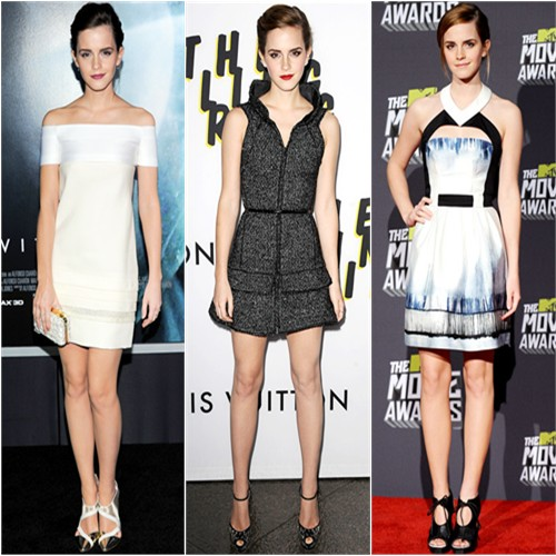 Emma Watson in J. Mendel, Chanel, and Maxime Simoëns