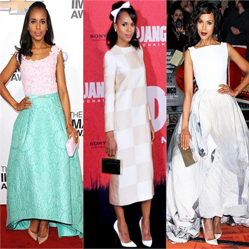 Kerry Washington in Oscar de la Renta, Louis Vuitton, and Giles