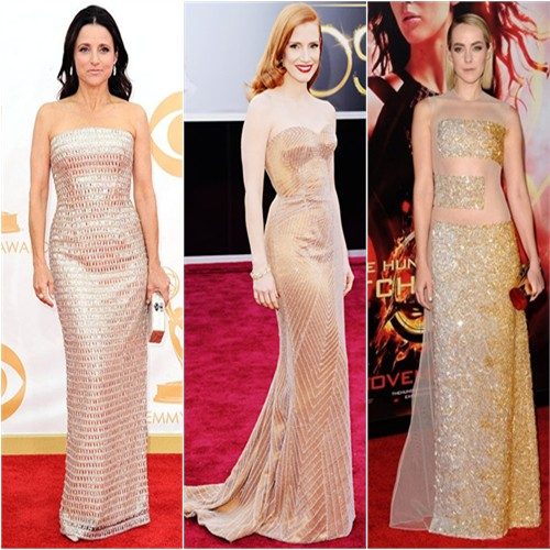Julia Louis-Dreyfus in Monique Lhuillier; Jessica Chastain in Giorgio Armani; Jena Malone in Nicholas Oakwell