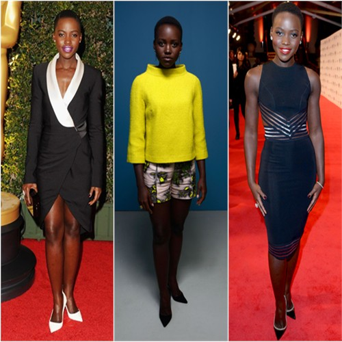 Lupita Nyong'o in Prabal Gurung, Honor, and Christopher Kane