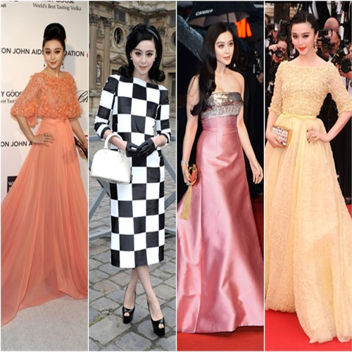 Fan Bingbing in Elie Saab (far left & far right looks) and Louis Vuitton (center looks)