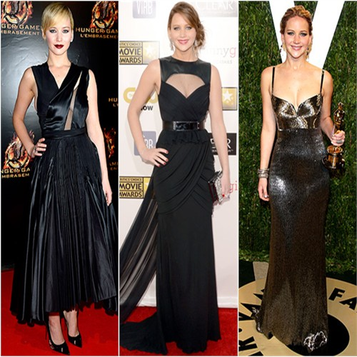 Jennifer Lawrence in Christian Dior, Prabal Gurung, and Calvin Klein