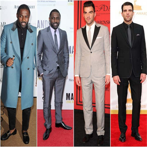 Idris Elba in Prada; Zachary Quinto in Todd Snyder and Givenchy
