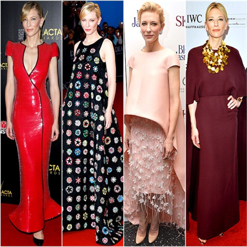Cate Blanchett in Armani Privé, Christian Dior, Balenciaga, and Valentino