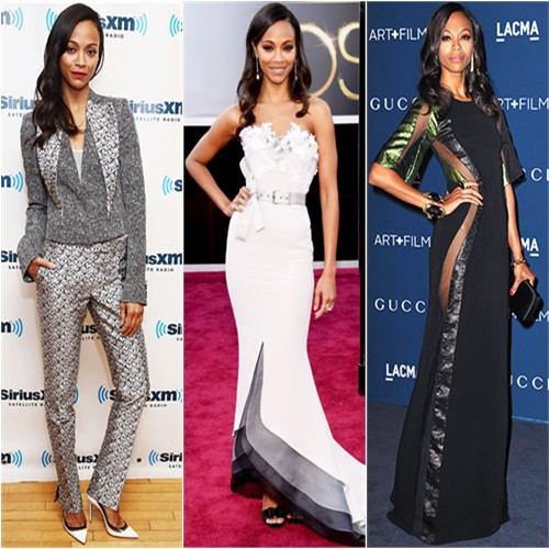 Zoe Saldana in Antonio Berardi, Alexis Mabille, and Gucci