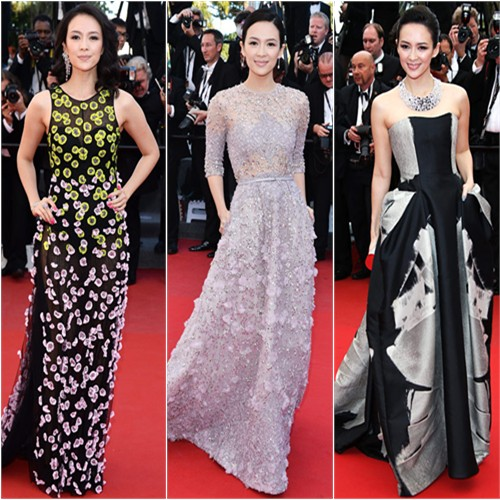 Zhang Ziyi in Christian Dior, Elie Saab, and Carolina Herrera