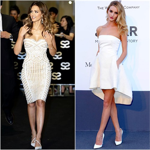 Jessica's dress by Zuhair Murad, shoes by Christian Louboutin; Rosie's dress by Christian Dior, shoes by Christian Louboutin