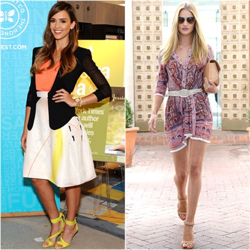 Jessica's skirt by Carolina Herrera, shoes by Brian Atwood; Rosie's dress and belt by Isabel Marant, sunglasses by Burberry, shoes by Chlo