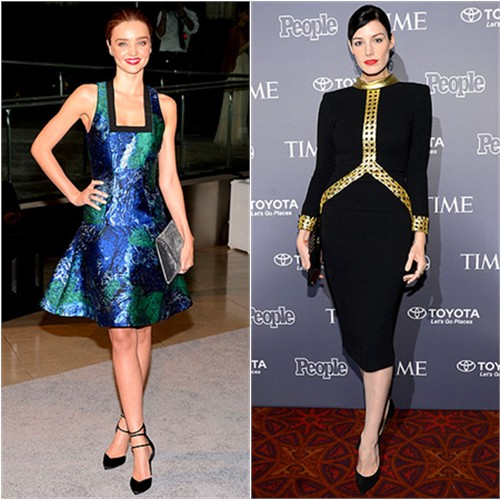 Miranda's dress by Proenza Schouler, purse and shoes by Stuart Weitzman; Jessica's dress by L'Wren Scott