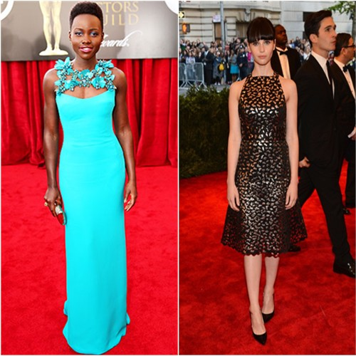 Lupita's gown by Gucci; Felicity's dress by Proenza Schouler
