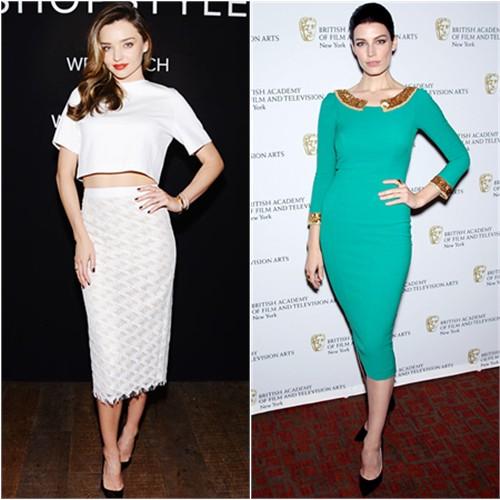 Miranda's top by Louise Goldin, skirt by Jenni Kayne, shoes by Manolo Blahnik; Jessica's dress by L'Wren Scott, shoes by Casadei